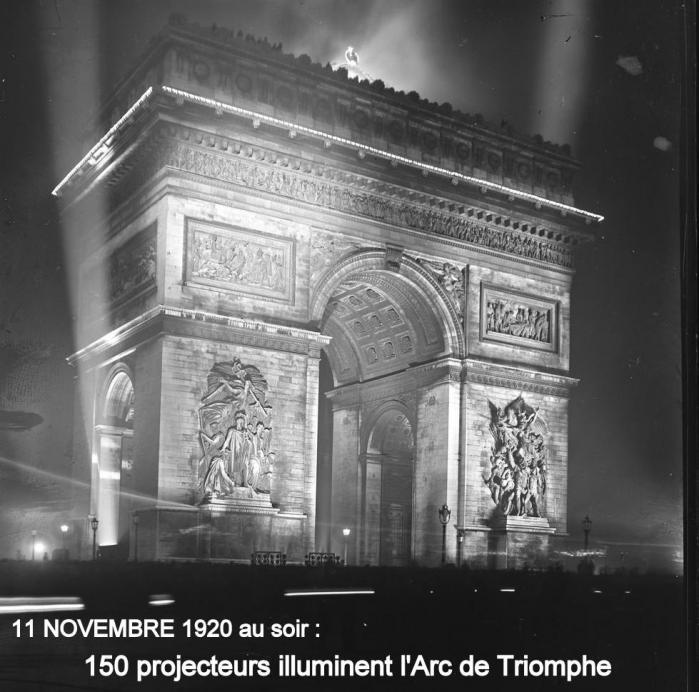11 NOVEMBRE 1920 : ILLUMINATION DE L ARC DE TRIOMPHE